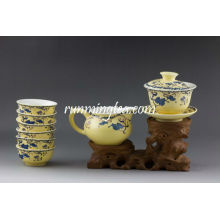 """Sowbread Flower"" Yellow Glaze Porcelain Teaware Set, 1 Gaiwan, 1 Pitcher and 6 Cups"